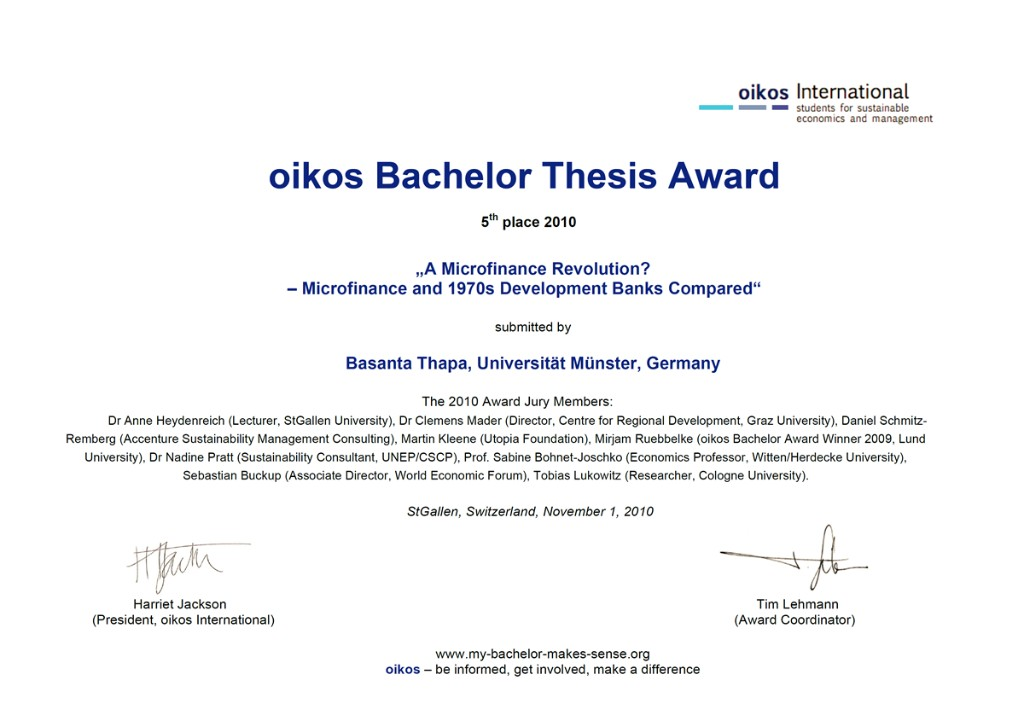 oikos Bachelor Thesis Award